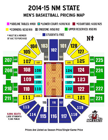 2014-15 Men's Basketball Season Ticket Pricing Map
